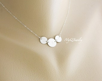 THREE Initial Necklace, Monogram Necklace, Mother Jewelry, Personalized Mother Necklace, Children Initial, Family Necklace, Valentine's gift