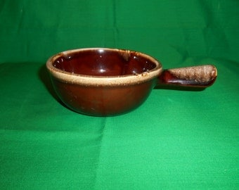 "One (1), 3"",  Individual Casserole, from Nelson McCoy, in the 7050 Brown Drip Pattern."