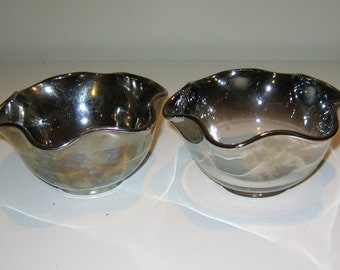 Vintage Queens Lusterware Silver Ombre 6-sided Scalloped Dishes Mid Century, Set of Two