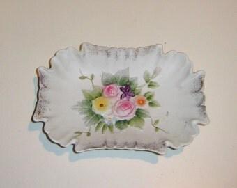 Vintage Hand-painted Lefton China Bisque Porcelain Floral Ashtray, Trinket Tray