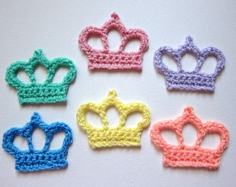 "1pc 3"" Crochet CROWN Applique Pastel Tones"
