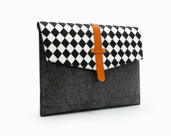 """20%OFF!Black and White Grid Laptop Bag Gray Felt & Leather 15 Macbook Pro Retina Case 15"""" Macbook Sleeve with Front Pocket Custom made E2029"""