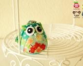 Mint - Owl Doll, owl plush, animal doll, animal plush, with a Bag, plush, keychain, children, poke dot, dots, baby, boy, girl, kid, green