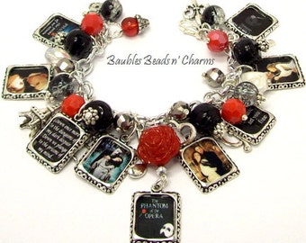 Phantom Of The Opera Charm Bracelet, Phantom of the Opera Jewelry, Literary Book Bracelet Jewelry
