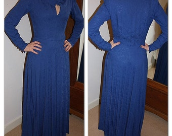 Vintage 1970s blue evening maxi dress with flared skirt