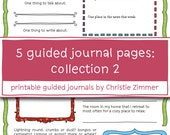 5 Printable Guided Journal Pages: Collection 2 - Wild and precious life, Out there in the world, Variety and uniqueness, The bright side, Th