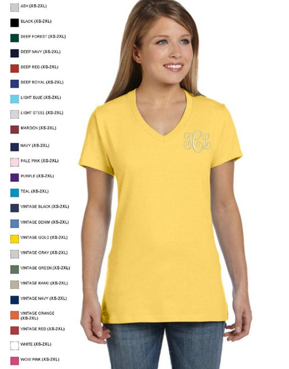 Personalized Embroidered Monograms Hanes Ladies' 4.5 oz., 100% Ringspun Cotton nano-T® V-Neck T-Shirt by Arts and Soles