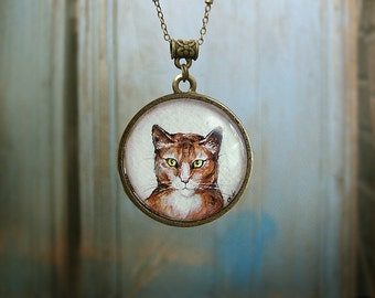 Animal Necklace Cat Portrait bronze watercolor hand painting, for cats lovers, blue and brown, vintage style jewelry