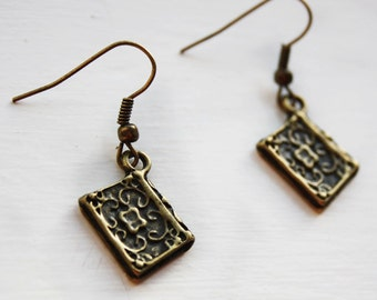Book earrings - novel earrings - bronze - literary, reader, writer - jewellery, jewelry - Petal Gifts