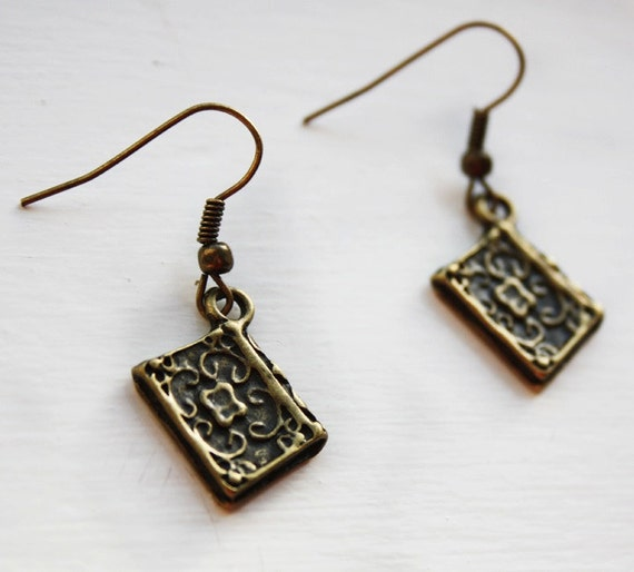 book earrings novel earrings bronze literary reader