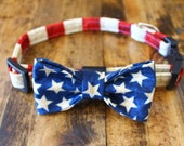 Dog collar and Dog bow tie in patriotic Red, White and Blue Stars and Stripes