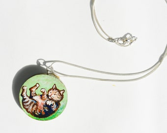 Chubby Tabby pendant, Hand painted circular wooden pendant with silver chain, autumn cat jewelry