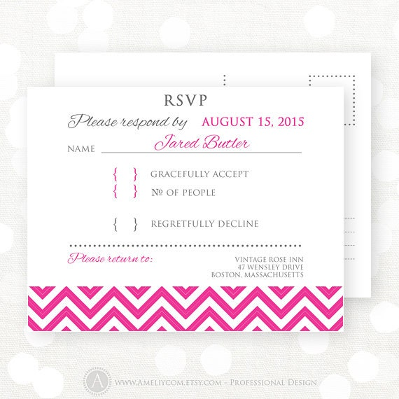 Items Similar To Printable RSVP Card Pink Chevron, Wedding