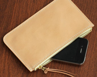 100% Hand-stitched Vegetable Tanned Leather Zip Leather Case Holder