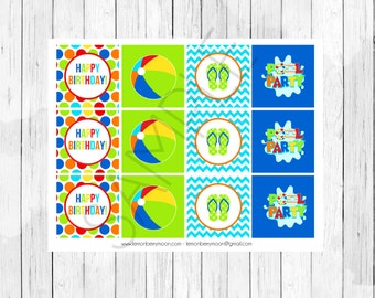 Pool Party Cupcake Toppers or Stickers - Swim Party Cupcake Toppers - Instant Download