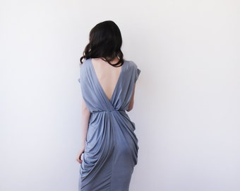 Urban gray bridesmaids maxi gown, Maxi short sleeves grey gown 1008.
