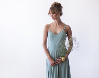 Maxi mint party backless dress, Dress with a sexy slit , Open back gown 1036