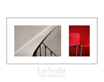 Modern Art Photo Duet, Bold Colors, Red, Black, White, Contemporary Art, Modern Decor