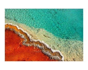 Aqua Hot Pool Photo, Yellowstone, Nature Photography, Turquoise Red, Vermilion Aqua, National Park