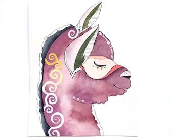 Llama Illustration Painting - Watercolor Art - Llama Nursery Print