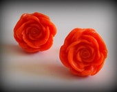 Handmade Polymer Clay Post Earrings // Victorian Inspired Large ORANGE ROSE