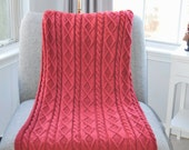 Red Blanket Chunky Blanket Handknit with Diamond Pattern