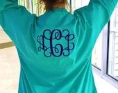 Spirit Teal Shirt  Monogram Personalized  Font Shown INTERLOCKING in Dark Blue