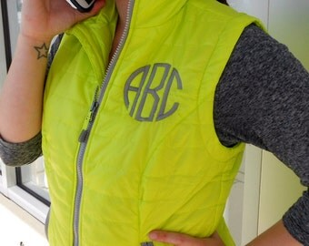 Monogrammed Quilted Vest  Font shown NATURAL CIRCLE in grey