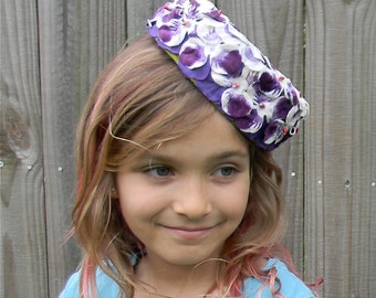 Vintage White Purple Flower Hat Styled By Mister W Label with 2 attached inner combs Spring Summer Hat