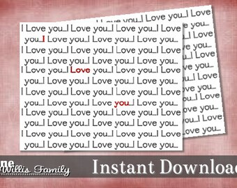 Printable Valentines Card I love you-instant download A2 card
