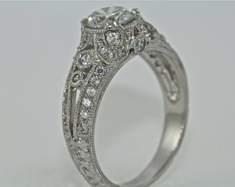 14kt White Gold and Diamond Edwardian Style Hand Engraved Engagement Ring with 1.00ct White Sapphire Center