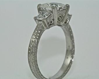 Platinum Art Deco Design Hand Engraved 3 stone ring with 1.5ct Square Moissanite Center