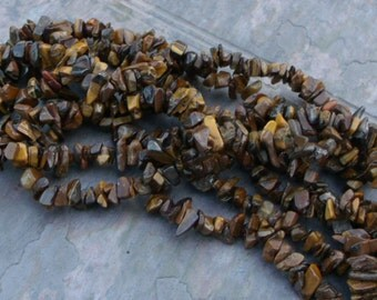 SALE - Extra long 35 Inch Strand - Natural Tigereye Medium Chip Beads