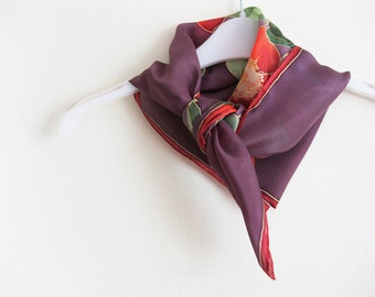 Small silk scarf hand painted Mother day gift Aubergine red roses - made TO ORDER