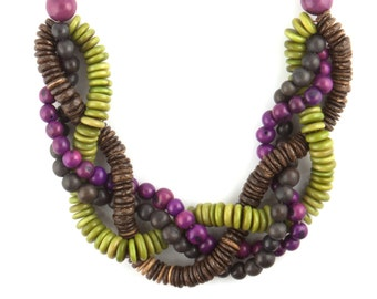 "Acai, Tagua & Coconut Statement Necklace -  ""LILA"" Style"
