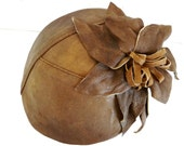 Upcycled Brown Leather Fascinator With Flower- Handmade leather headpiece for Women