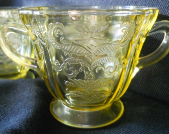 Amber Depression Glass, Creamer and Sugar, Madrid pattern, Federal Glass, 1930s
