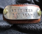 Remember the Alamo - upcycled leather cuff-hand stamped silverware jewelry