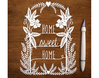 "Original Papercut - Home Sweet Home - 6x8"" Handcut Paper Art"