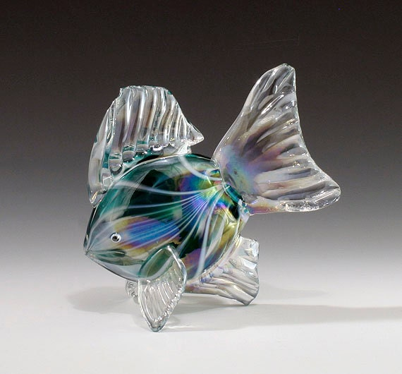 hand blown glass fish sculpture green by kevinfultonglass