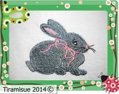 Bunny with Bow - Filled design for the 4 x 4  embroidery hoop Machine Embroidery Design