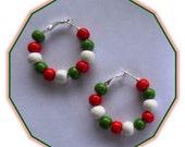 Christmas Wood Bead Hoop Earrings- Red Green and White