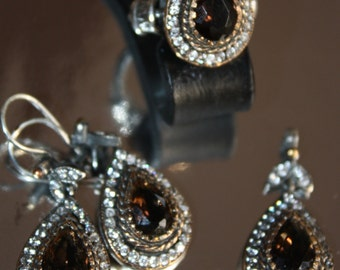 "Hand made sterling 925 "" Victorian"" set : Ring , Earrings and a pendant/ Smoky topaz and CZ"