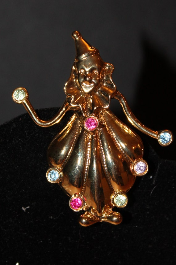 BROOCH Juggling Clown Brooch Pin with Gold Tone Metal Body and rhinestones.