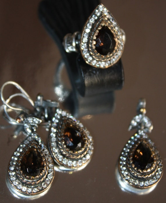 """Hand made sterling 925 """" Victorian"""" set : Ring , Earrings and a pendant/ Smoky topaz and CZ"""