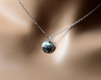 All sterling silver dragonfly necklace, Sterling Silver textured Nature Insect Jewelry