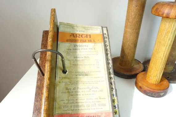 Ledger Card Holder : Sale vintage account file the arch wood by