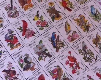 Full 50 Stamp Philatelic Sheet :20 Cent US States Bird and Flower Stamp Set MNH Scotts 1953-2002 Postage