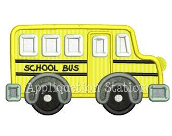 Cute School Bus Applique Machine Embroidery Design boy vehicle truck car INSTANT DOWNLOAD