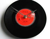 """IGGY POP """"High On You"""" Vinyl Record Clock. Recycled 7"""" vinyl record in a box Classic punk new wave engagement love gift black and red disc"""
